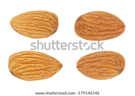 four almond nuts, isolated on white background