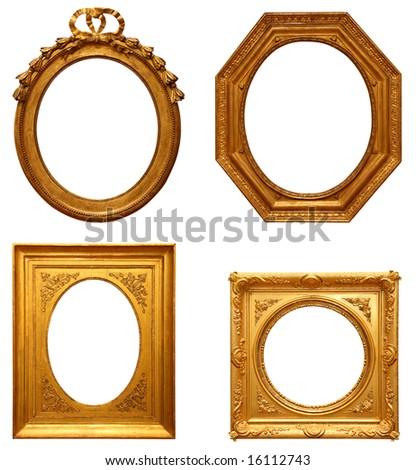 Four antique picture frames - stock photo