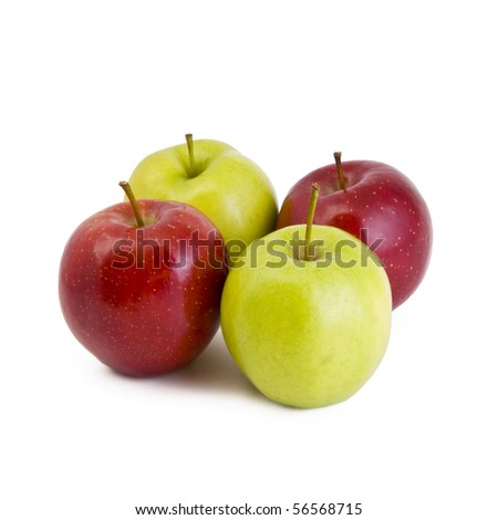 Four apples, green and red isolated on white
