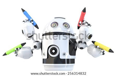 Four-armed robot with pencils. Multitasking concept. Isolated. Contains clipping path. - stock photo