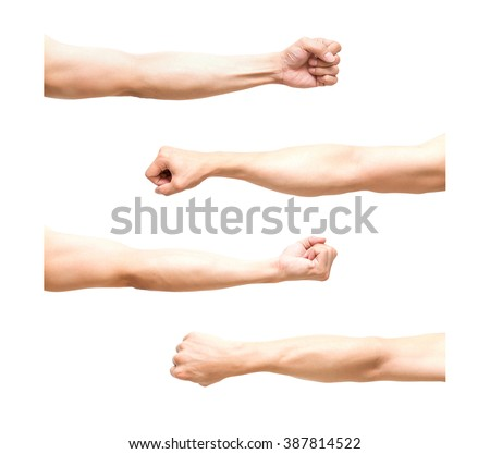 Four arms in fist action on white background, with clipping path. - stock photo