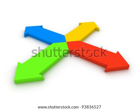 Four arrows pointing in different directions - stock photo