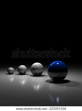 Four balls on black background symbolize lesdership - stock photo