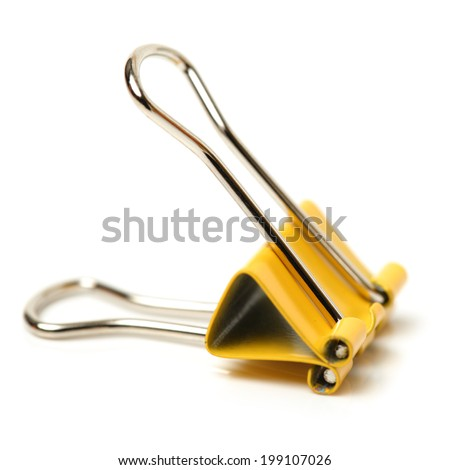 Four binder clips isolated on white background  - stock photo