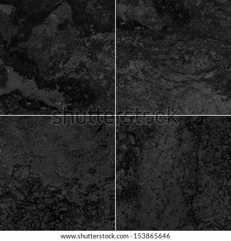 Four black marble texture (High resolution) - stock photo