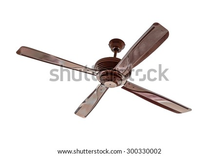 Four blades brown Ceiling fan isolated - stock photo