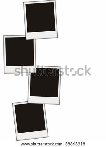 four blank photos isolated on white - stock photo