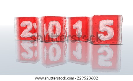 Four blocks of rough red ice on white background with frozen-in bubbles in the form of numbers 2, 0, 1 and 5 - stock photo