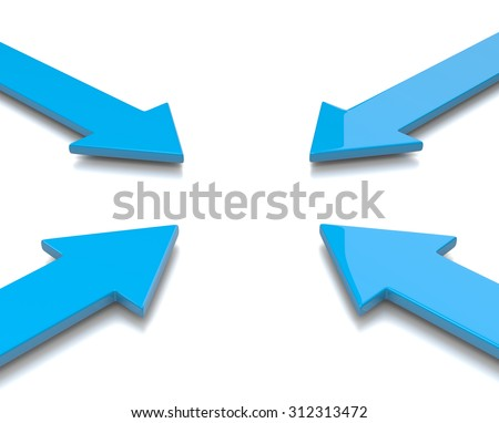 Four Blue Convergent Arrows 3D Illustration on White Background - stock photo