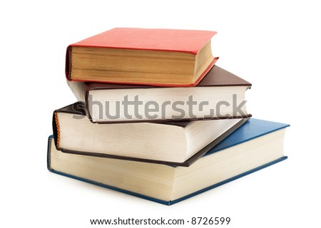 Four books isolated on the white background - stock photo