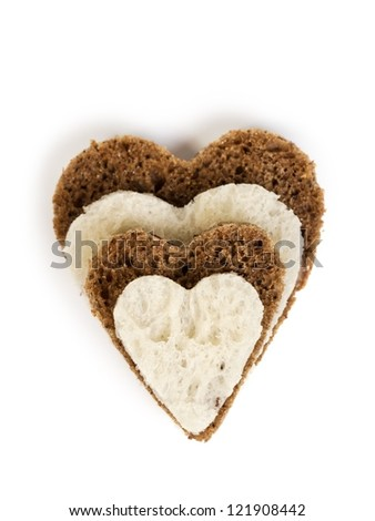 four bread heart isolated on white background