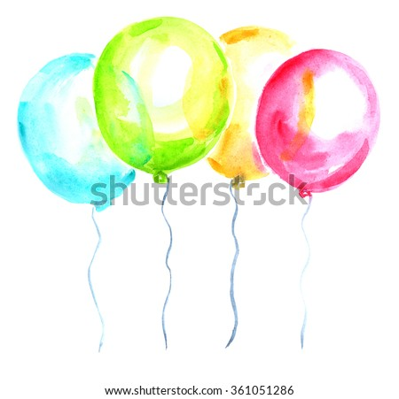 Four bright balloons painted in watercolor on white isolated background - stock photo