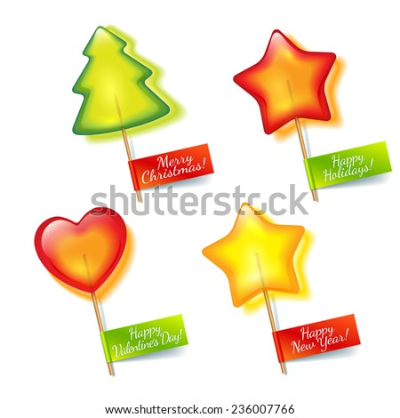 Four bright holiday lollipop in the form of green spruce, yellow stars and red hearts isolated on a white background  for Christmas, New Year and Valentine's Day - stock photo