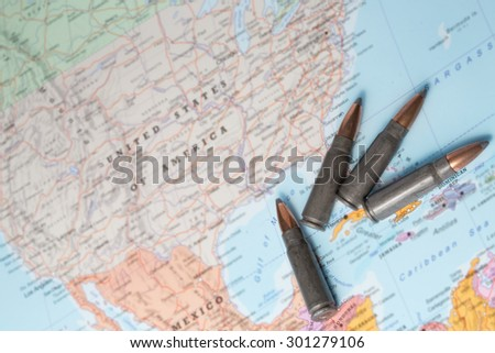 Four bullets on the geographical map of United States of America.  - stock photo
