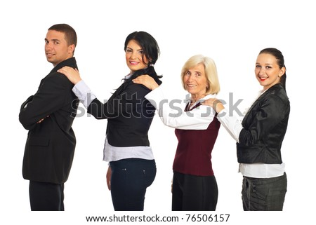 Four business people holding hands on each others shoulders and smiling ,concept of supporting each other isolated on white background