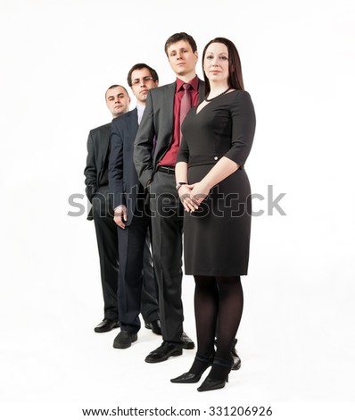 Four business people, standing in a row one after another in wearing suits isolated on white background