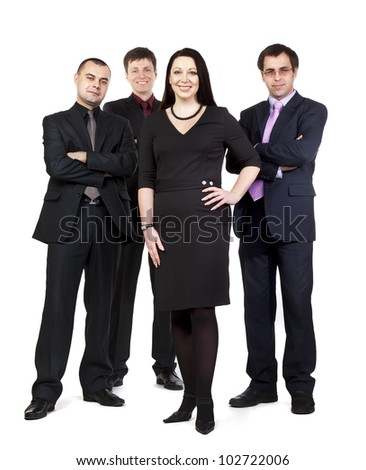 Four business people standing side by side in wearing suits isolated on white background - stock photo