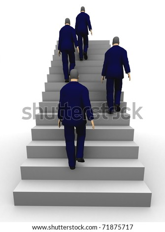 Four businessmen seen from back climbing a staircase. 3D illustration