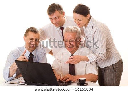 four businessmen working together on a white