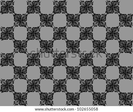 Four butterflies pasted at 45 degree angles, in a classic checkerboard pattern. Inverted black , white and gray butterflies, gray background./ Butterfly Interlock Checker #25 / Classic looking style.
