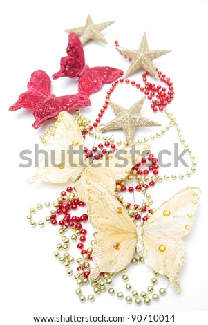 Four butterfly and three snowflakes with beads