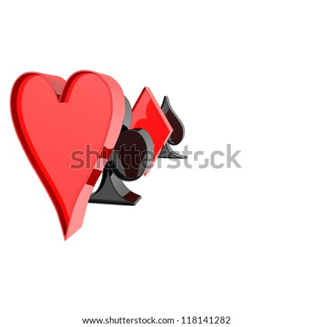 four card suit on a white background. computer generation - stock photo
