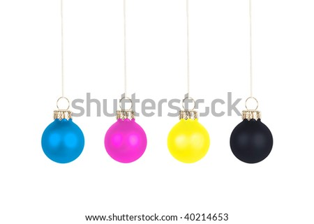 Four Christmas tree balls, CMYK color space - stock photo