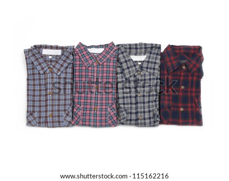 Four close up on mens plaid shirts