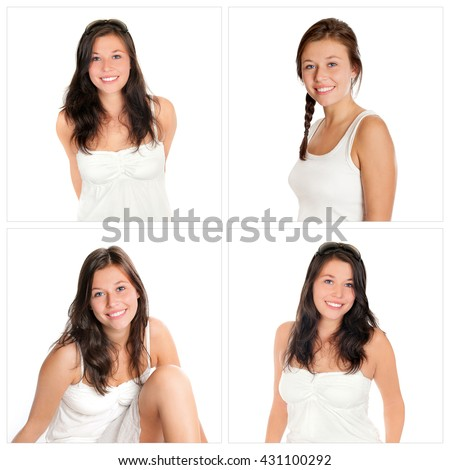 Four closeup portraits of the same young woman, smiling and happy, in front of white studio background - stock photo