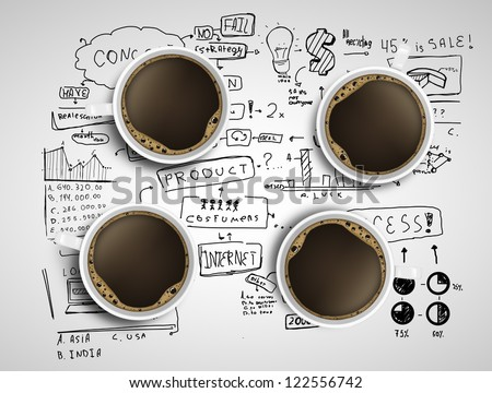 four coffee cups and business strategy on a white background - stock photo