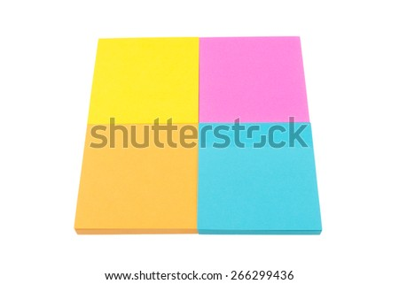 Four color block of paper notes isolated on white background - stock photo