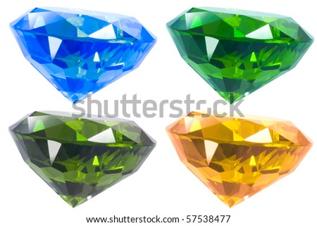 Four Color Diamond Isolated White - stock photo