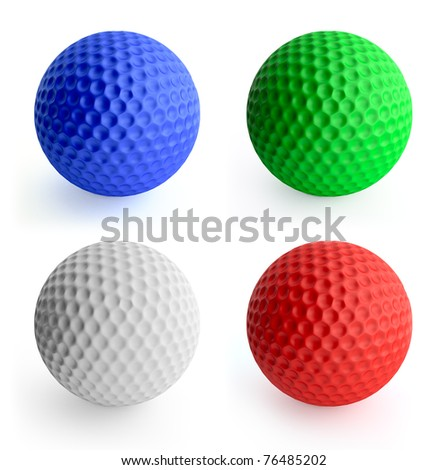 Four color golf ball red, green, blue, white. Isolated on white - stock photo
