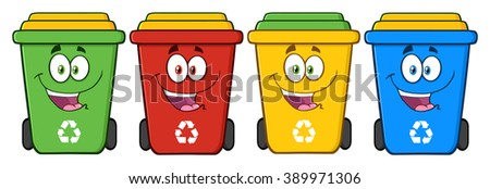 Four Color Recycle Bins Cartoon Character. Raster Illustration Isolated On White Background - stock photo
