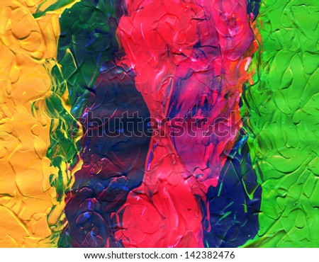 Four colored acrylic paint colors with texture - stock photo