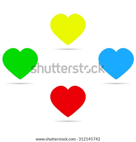 Four colored hearts with shadow