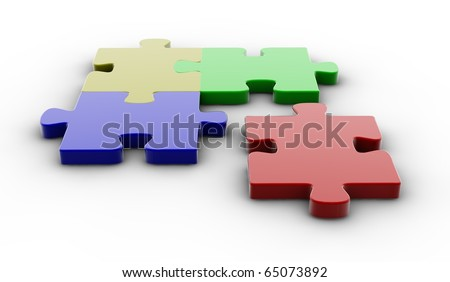 Four colored puzzle pieces isolated on white