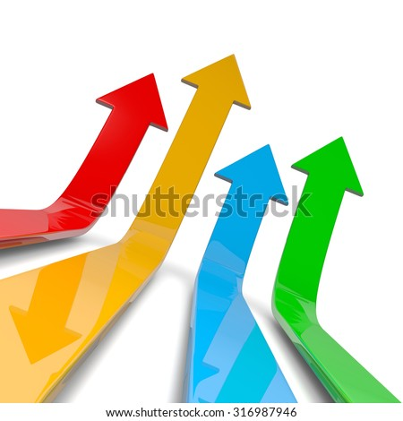 Four Colorful Arrows Lift Off 3D Illustration on White Background, Competition Concept - stock photo