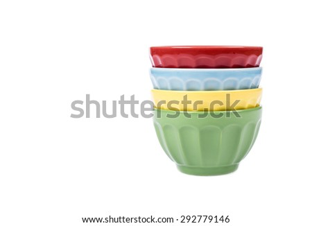 Four Colorful Bowls Stacked and Isolated on White - stock photo