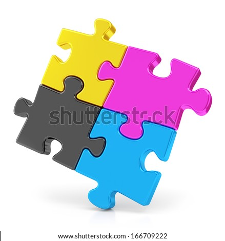 Four colorful CMYK puzzle pieces isolated on white background. Teamwork and offset print concept. - stock photo