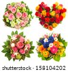 four colorful flowers bouquet for Birthday, Wedding, Mothers Day, Valentines Day, Christmas, New Year. roses arrangement - stock photo