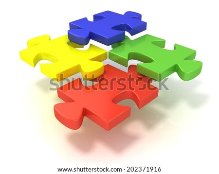 Four colorful jigsaw puzzle pieces set apart. Isolated on a white background