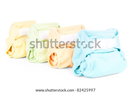 four colorful nappies isolated on white background - stock photo