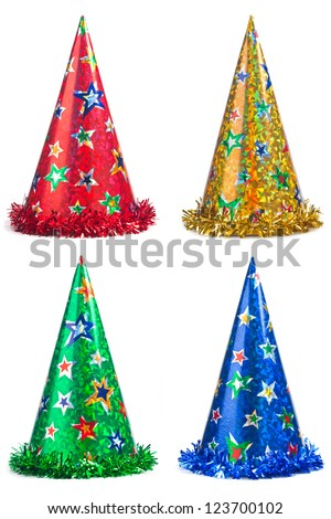 Four colorful party hats collage on a white background - stock photo
