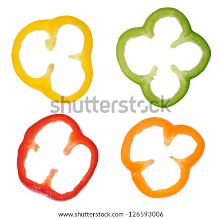 four colorful slices of bell pepper  isolated on white background