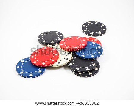 Four colors of casino chips isolate on white background