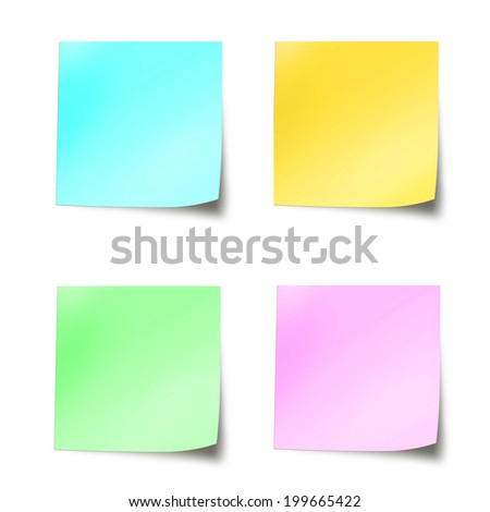 Four coloured stick notes paper isolated on white background