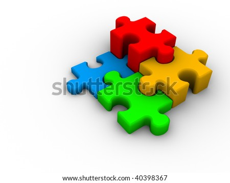 Four connected puzzle pieces on white background - 3d render - stock photo