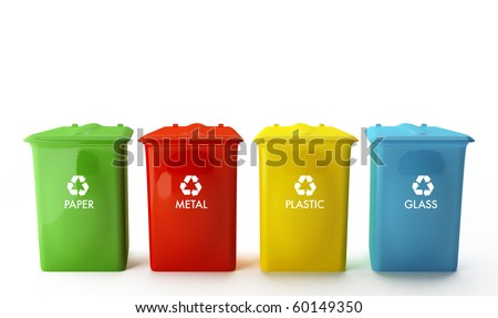 Four containers for recycling paper, metal, plastic and glass - stock photo