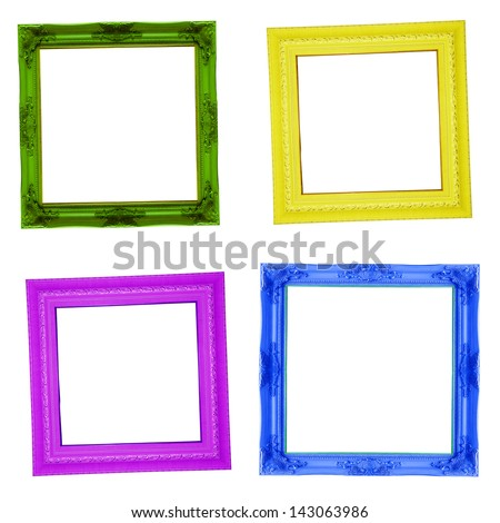 Four contemporary picture frames in high resolution vibrant colors. - stock photo